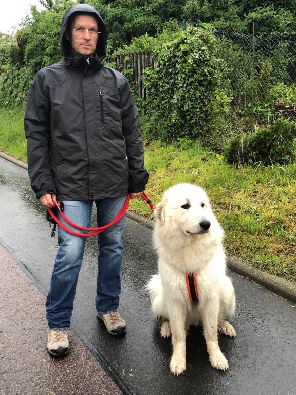 Die Bella und ihr großer Mensch im Regen