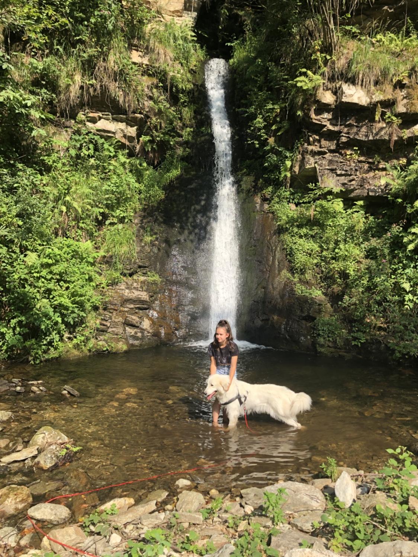 Jessi und Bella im kleinen See am Wasserfall